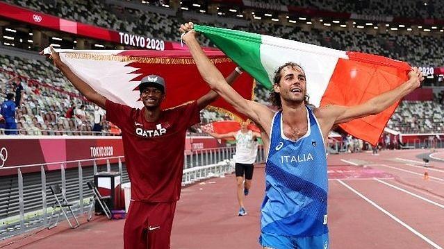 "<div class=""paragraphs""><p>Mutaz Essa Barshim of Qatar and Italian high jumper Gianmarco Tamberi celebrate sharing the High Jump Gold medal at the 2020 Tokyo Olympics.&nbsp;</p></div>"
