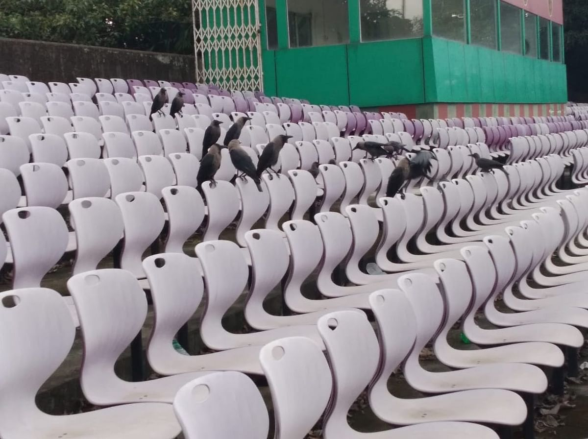 """<div class=""""paragraphs""""><p>Empty stand of the Mohun Bagan stadium</p></div>"""