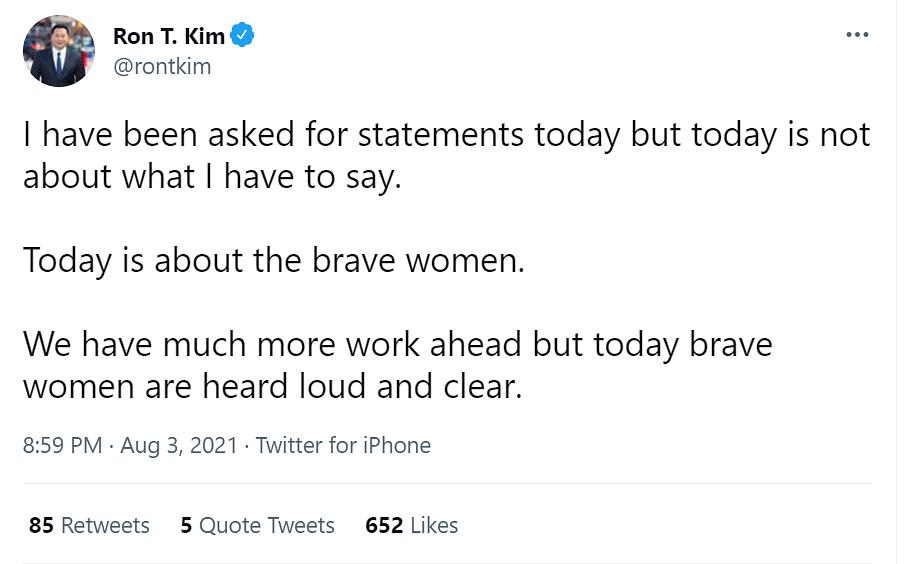 "<div class=""paragraphs""><p>New York State Assembly man Ron Kim via Twitter.&nbsp;</p></div>"