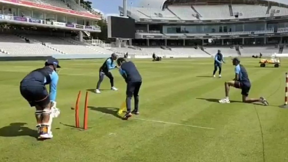 """<div class=""""paragraphs""""><p>Indian team at practice at Lord's</p></div>"""