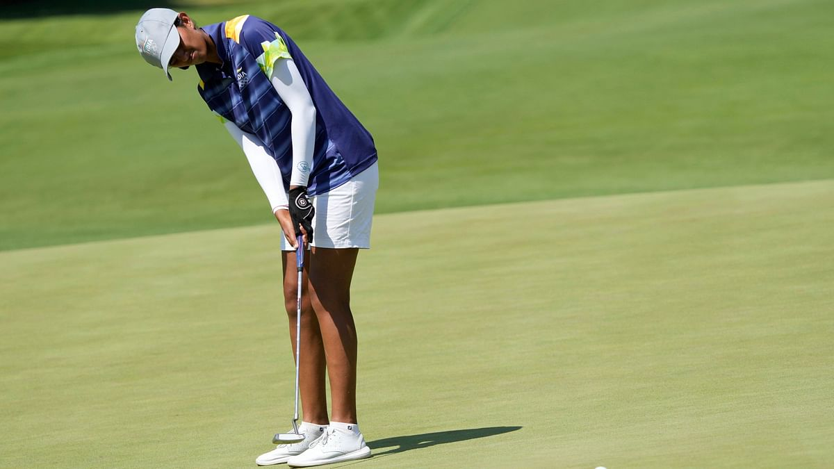 """<div class=""""paragraphs""""><p>Tokyo Olympics: Aditi Ashok in action on Wednesday.</p></div>"""