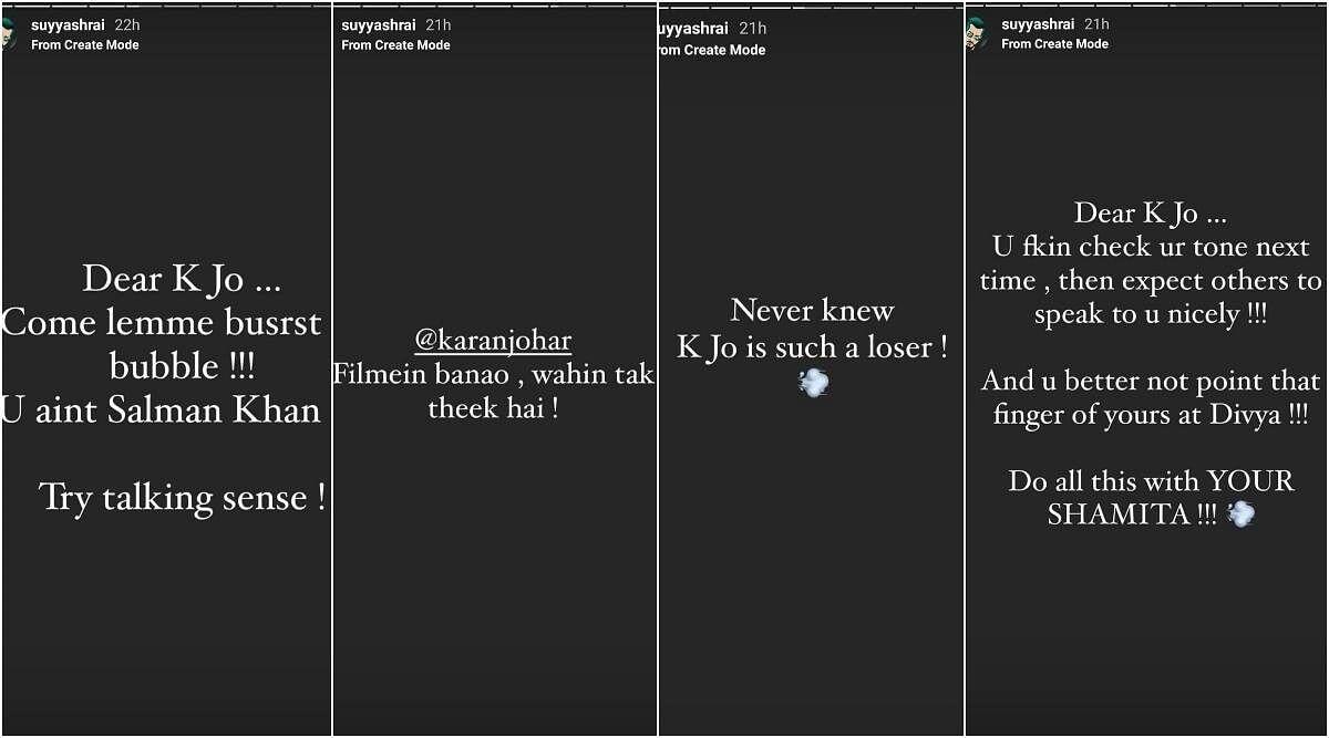 "<div class=""paragraphs""><p>Suyyash Rai lashed out on Karan Johar supporting Divya Agarwal.</p></div>"