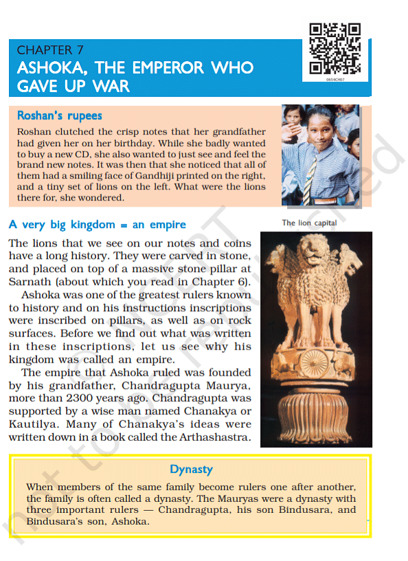 """<div class=""""paragraphs""""><p>The seventh chapter of this book talks about Emperor Ashoka.</p></div>"""