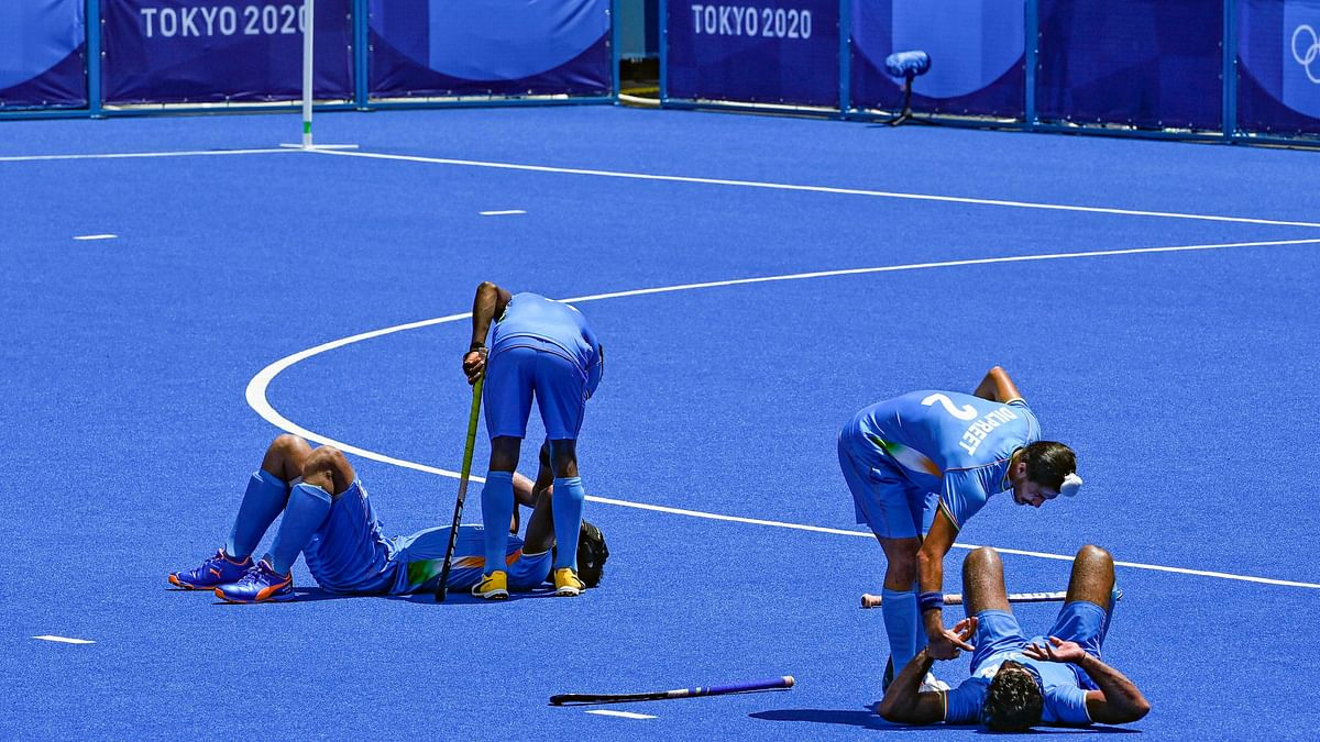 "<div class=""paragraphs""><p>Indian players react dejectedly after the defeat against Belgium.&nbsp;</p></div>"