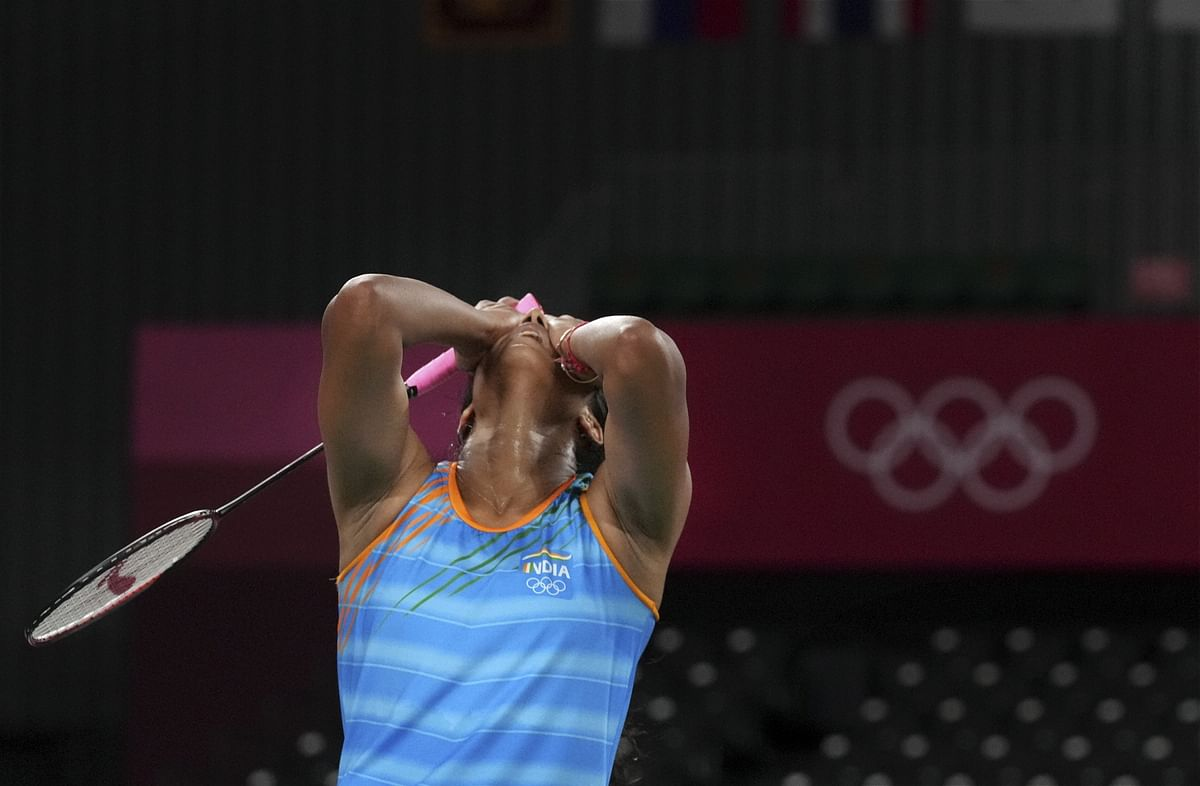 """<div class=""""paragraphs""""><p>Tokyo: India's Pusarla V. Sindhu reacts during her women's singles badminton bronze medal match against China's He Bingjiao, at the 2020 Summer Olympics, in Tokyo, Sunday, Aug. 1</p></div>"""