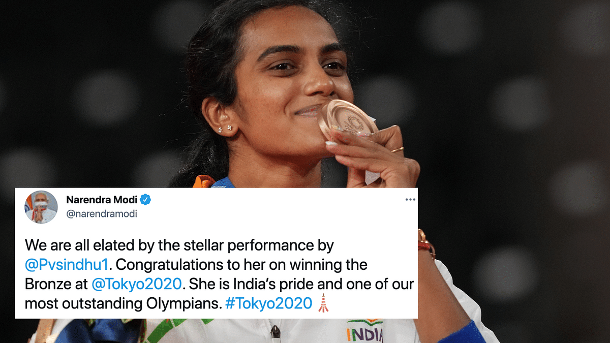 """<div class=""""paragraphs""""><p>PM Narendra Modi took to Twitter to congratulate PV Sindhu on her Olympic bronze in Tokyo.</p></div>"""