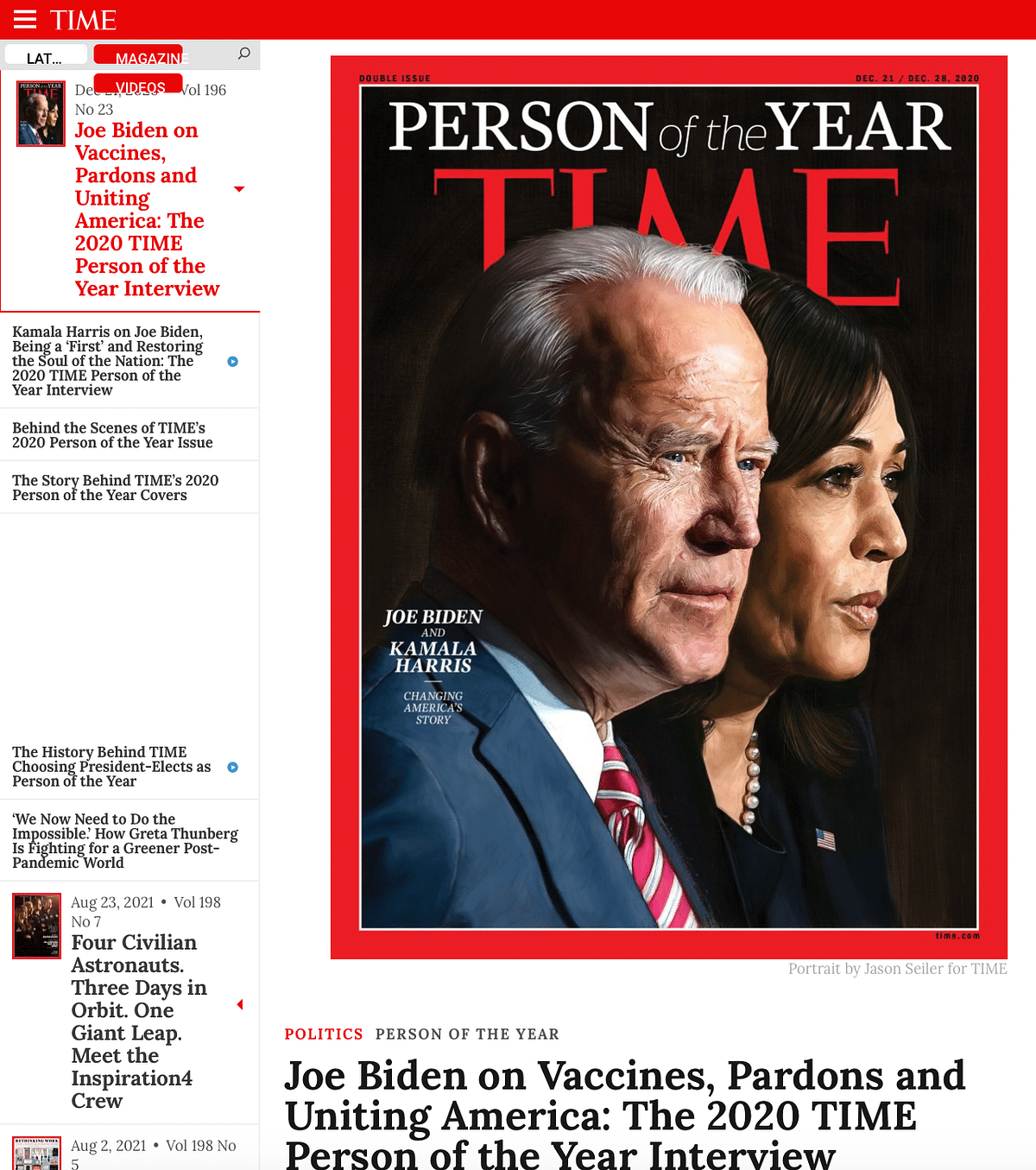 """<div class=""""paragraphs""""><p>Cover of 21 December 2020 issue of TIME magazine.</p></div>"""