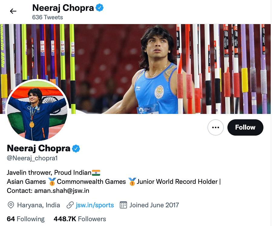 "<div class=""paragraphs""><p>Official handle of Neeraj Chopra.</p></div>"