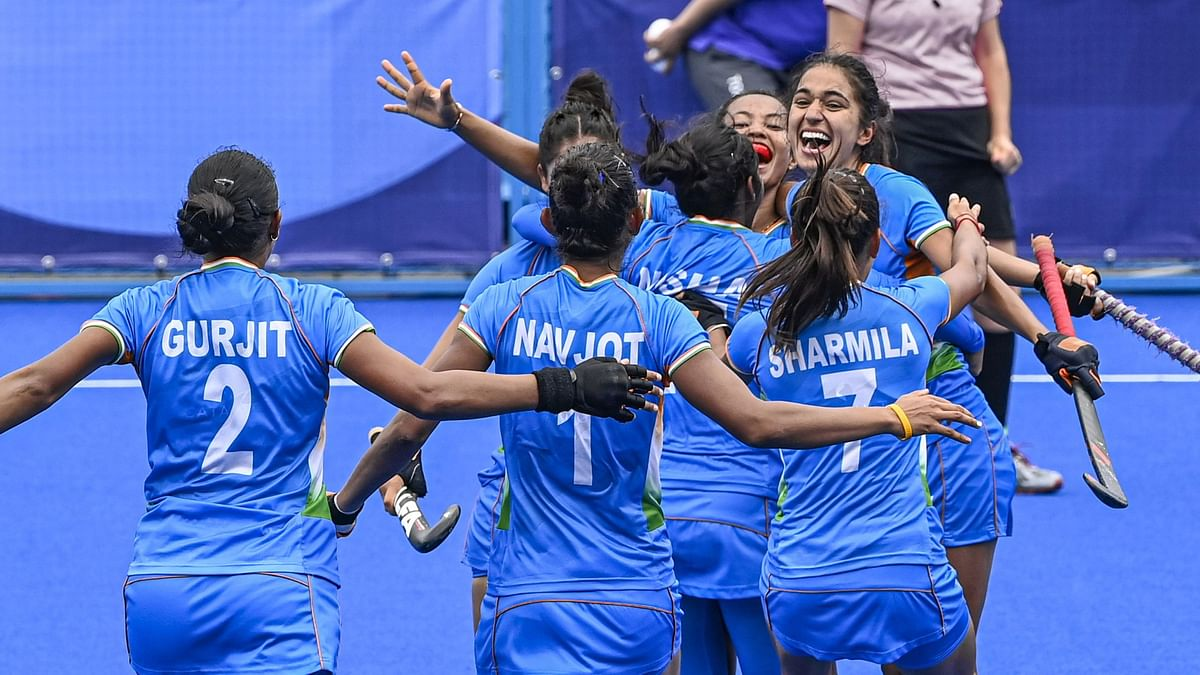 """<div class=""""paragraphs""""><p>Tokyo: Indian players celebrate their victory against Australia during women's field hockey quarterfinal match at the 2020 Summer Olympics,.</p></div>"""