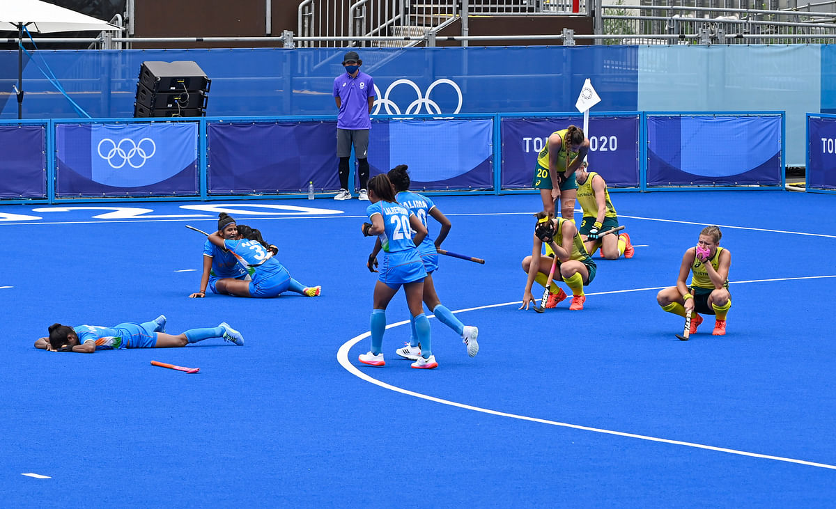 """<div class=""""paragraphs""""><p>Tokyo: Indian players celebrate their victory against Australia during women's field hockey quarterfinal match at the 2020 Summer Olympics, in Tokyo,  Monday, Aug. 2, 2021.</p></div>"""