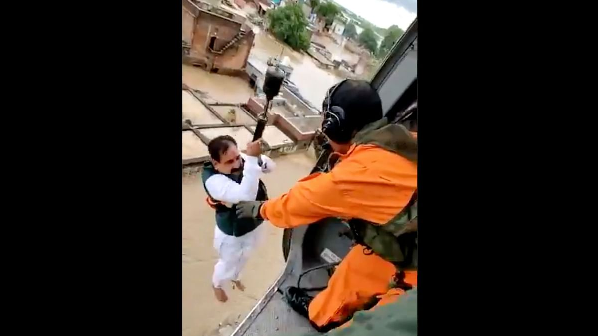 MP Home Minister Gets Stuck Trying to Rescue People, Gets Airlifted