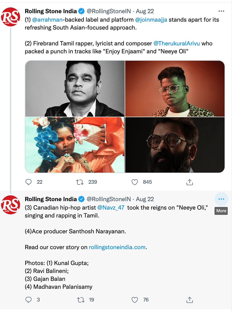 """<div class=""""paragraphs""""><p>Rolling Stone India put out a tweet, listing the names of artistes who are part of their cover story and named Arivu.</p></div>"""