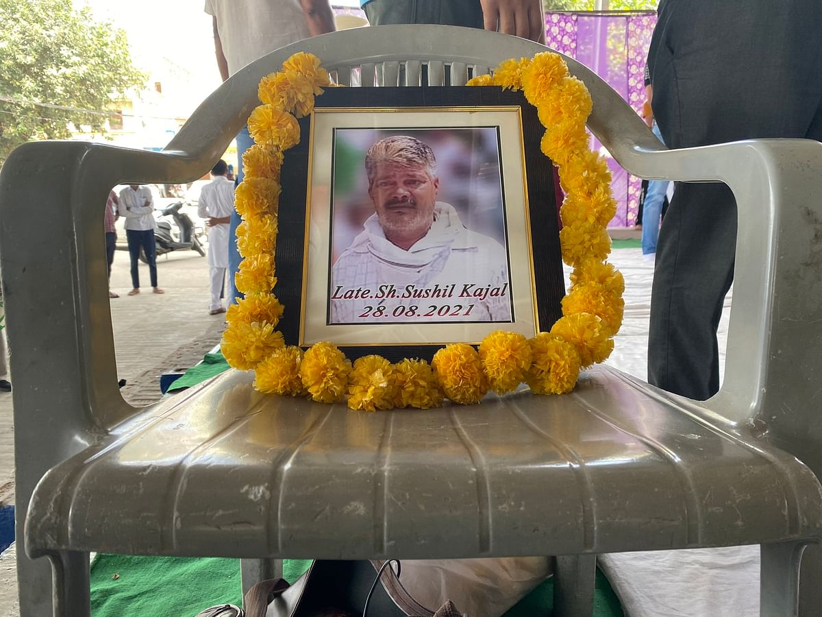 """<div class=""""paragraphs""""><p>A 'mahapanchayat' held by farmers' unions in Karnal on 30 August paid tribute to Sushil Kajal.</p></div>"""