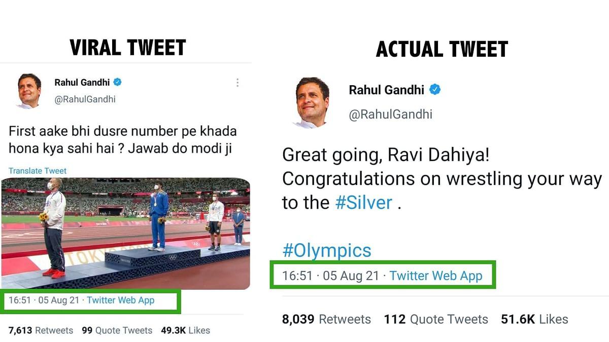 "<div class=""paragraphs""><p>Comparison between the viral tweet and an actual tweet of Gandhi.</p></div>"