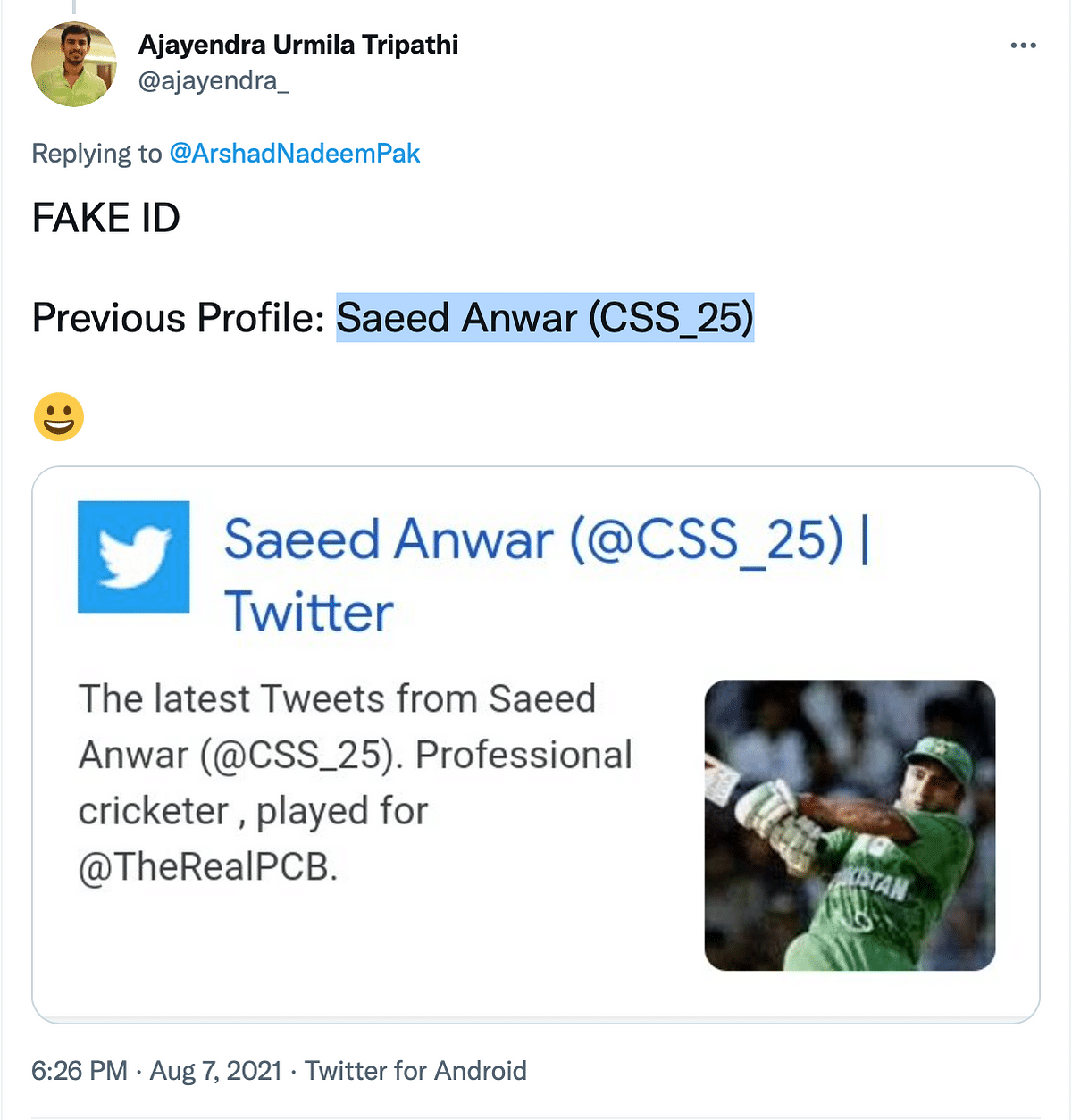 """<div class=""""paragraphs""""><p>Twitter user mentioned that the account was previously called Saeed Anwar.&nbsp;</p></div>"""