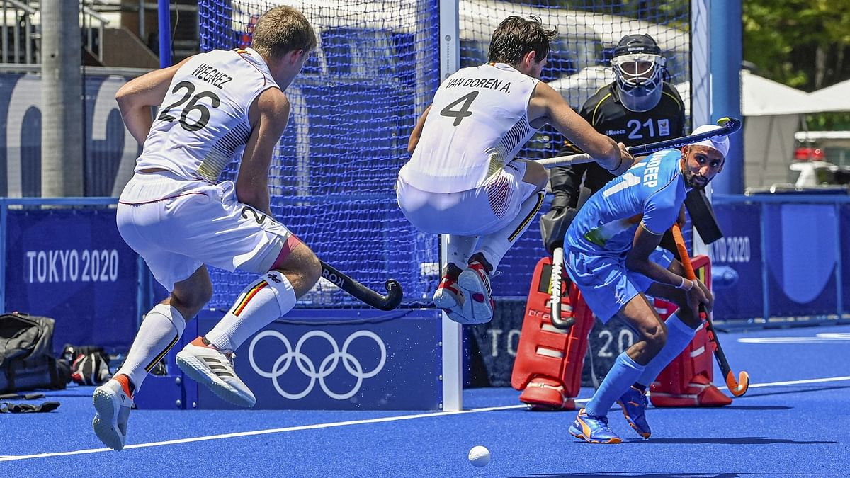 """<div class=""""paragraphs""""><p>Action from the India vs Belgium Semi-final at the 2020 Tokyo Olympics.</p></div>"""