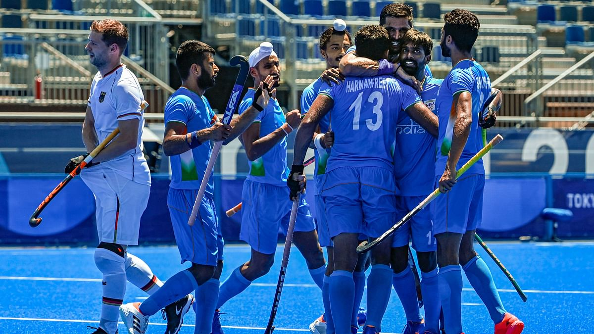 """<div class=""""paragraphs""""><p>Tokyo Olympics: India clinch Bronze after beating Germany 5-4.</p></div>"""