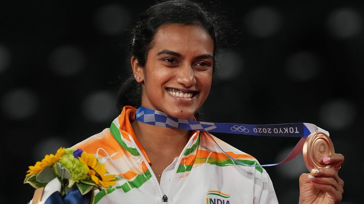 """<div class=""""paragraphs""""><p>PV Sindhu with her Bronze medal at the 2020 Tokyo Olympics.</p></div>"""