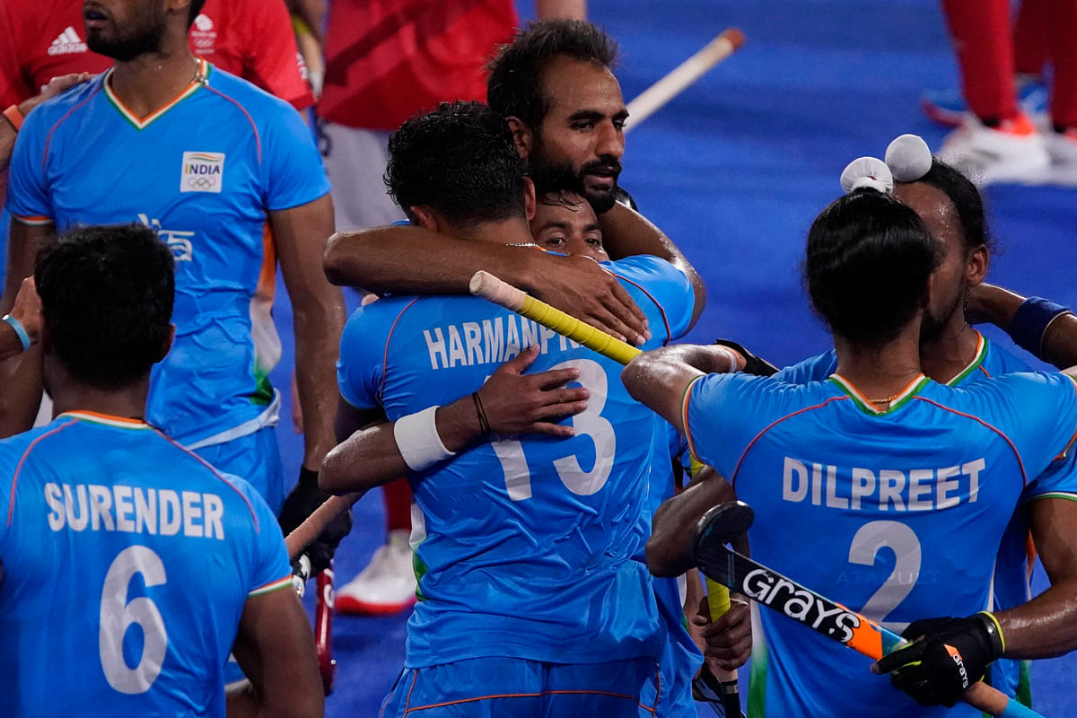 """<div class=""""paragraphs""""><p>Team India celebrates after winning their men's field hockey match against Britain at the 2020 Summer Olympics, Sunday, Aug. 1, 2021, in Tokyo, Japan. </p></div>"""