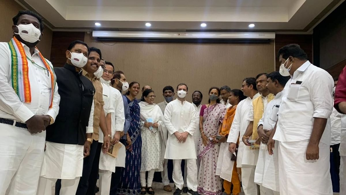 """<div class=""""paragraphs""""><p>Rahul Gandhi and other Opposition leaders at the breakfast meeting on Tuesday.&nbsp;</p></div>"""