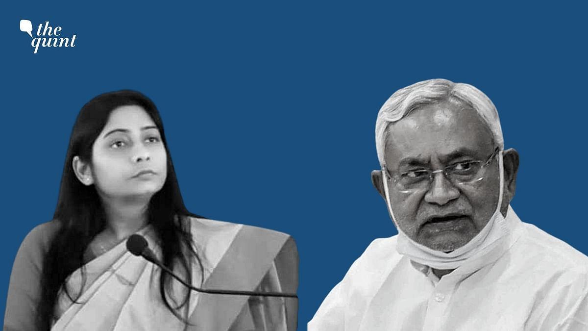 """<div class=""""paragraphs""""><p>BJP MP Sanghamita Maurya and Bihar CM Nitish Kumar.</p></div>"""