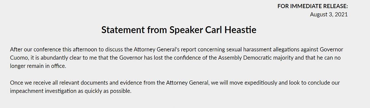 "<div class=""paragraphs""><p>Official statement by&nbsp;Speaker Carl&nbsp;New York Assembly Heastie.</p></div>"
