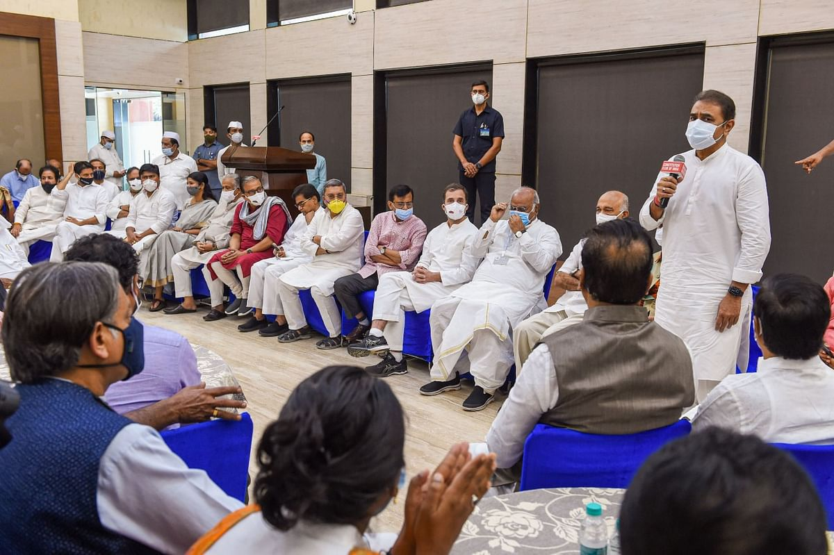 """<div class=""""paragraphs""""><p>NCP leader Praful Patel speaks during a breakfast meeting of Opposition leaders at the Constitution Club.</p></div>"""
