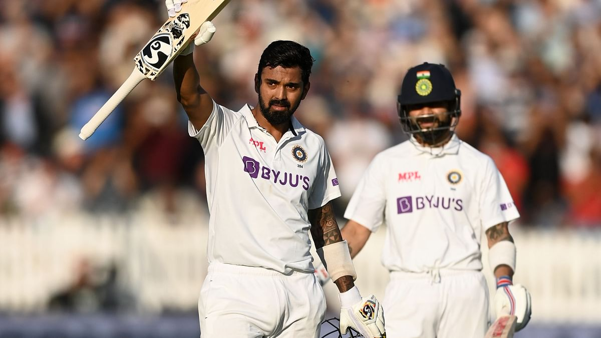 """<div class=""""paragraphs""""><p>KL Rahul after scoring his century on Day 1 at Lord's.&nbsp;</p></div>"""
