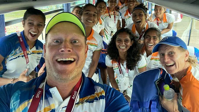"""<div class=""""paragraphs""""><p>Sjoerd Marijne and the Indian hockey team in celebratory mood after defeating Australia in the QF at the 2020 Tokyo Olympics.</p></div>"""