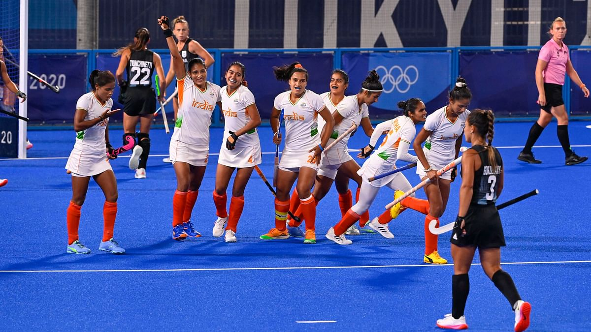 """<div class=""""paragraphs""""><p>India celebrate their first goal against Argentina at the Tokyo Olympics.&nbsp;</p></div>"""