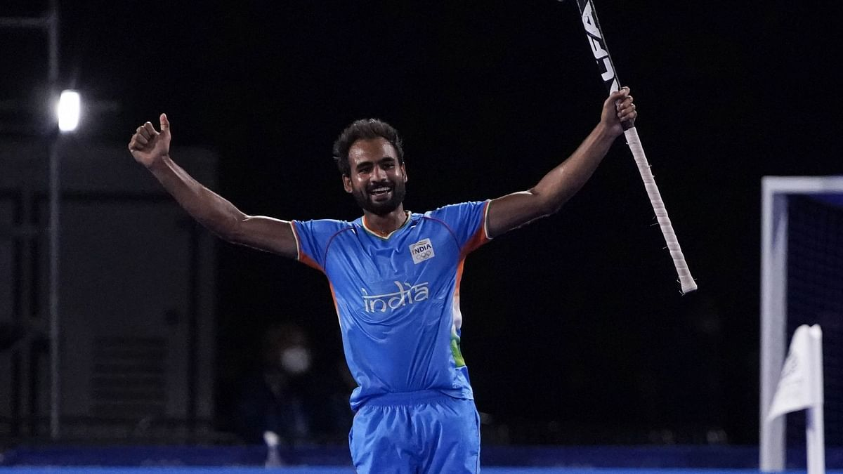 """<div class=""""paragraphs""""><p>Tokyo: India's Gurjant Singh celebrates after scoring during a men's field hockey match against Britain at the 2020 Summer Olympics, Sunday, Aug. 1, 2021, in Tokyo, Japan.</p></div>"""