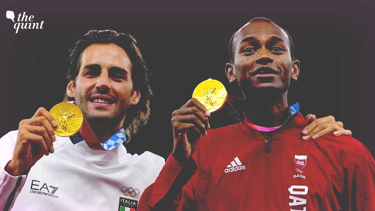 """<div class=""""paragraphs""""><p>Friends&nbsp;Mutaz Essa Barshim of Qatar and Gianmarco Tamberi of Italy chose to share the high jump gold medal.</p></div>"""