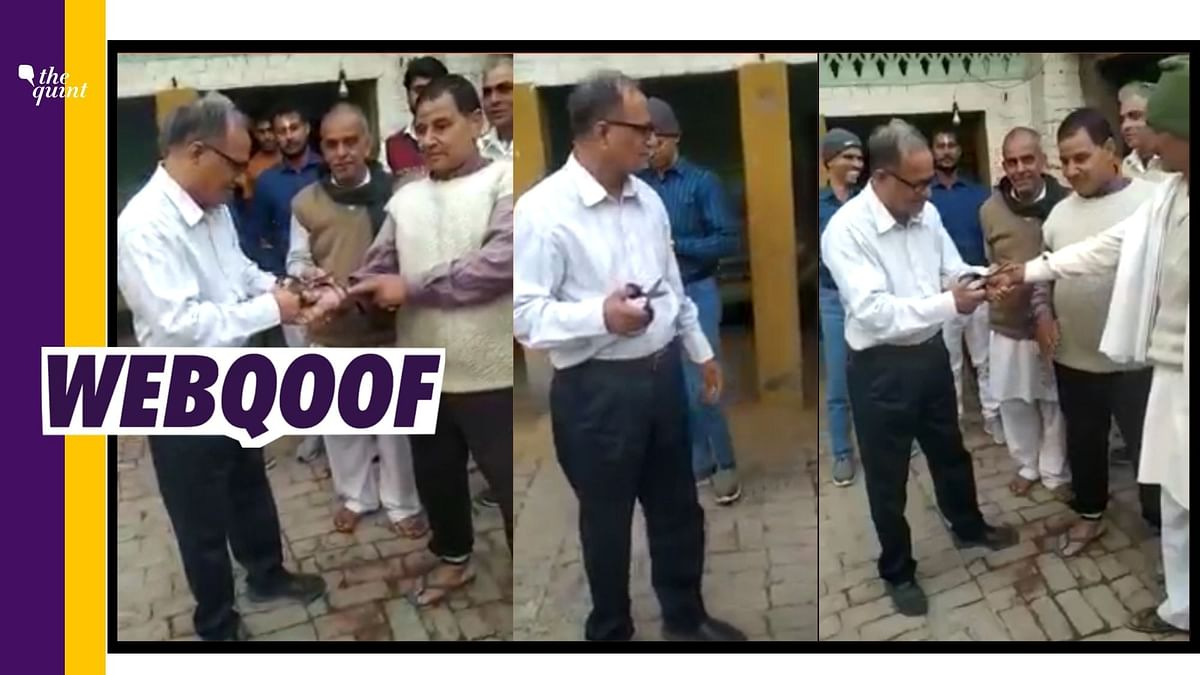 """<div class=""""paragraphs""""><p>The video falsely claimed to show Samajwadi Party leader removing a holy thread from people's hands and that he asked them to never go to a temple.<br></p></div>"""