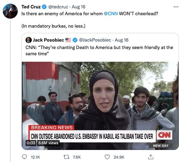 'Journo Not Flying to Cancun': CNN Slams US Senator for Afghanistan Tweet