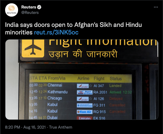"<div class=""paragraphs""><p>Retuers' tweet on Indian government's statement.</p></div>"