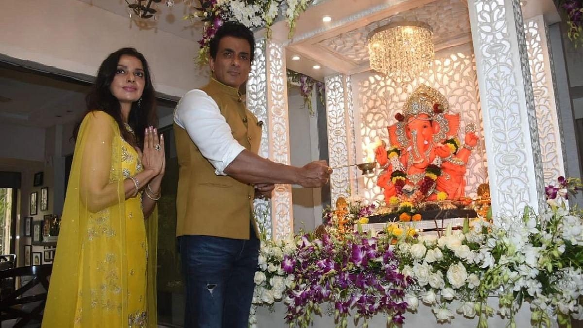 Pics: Sonu Sood & His Family Celebrate Ganesh Chaturthi