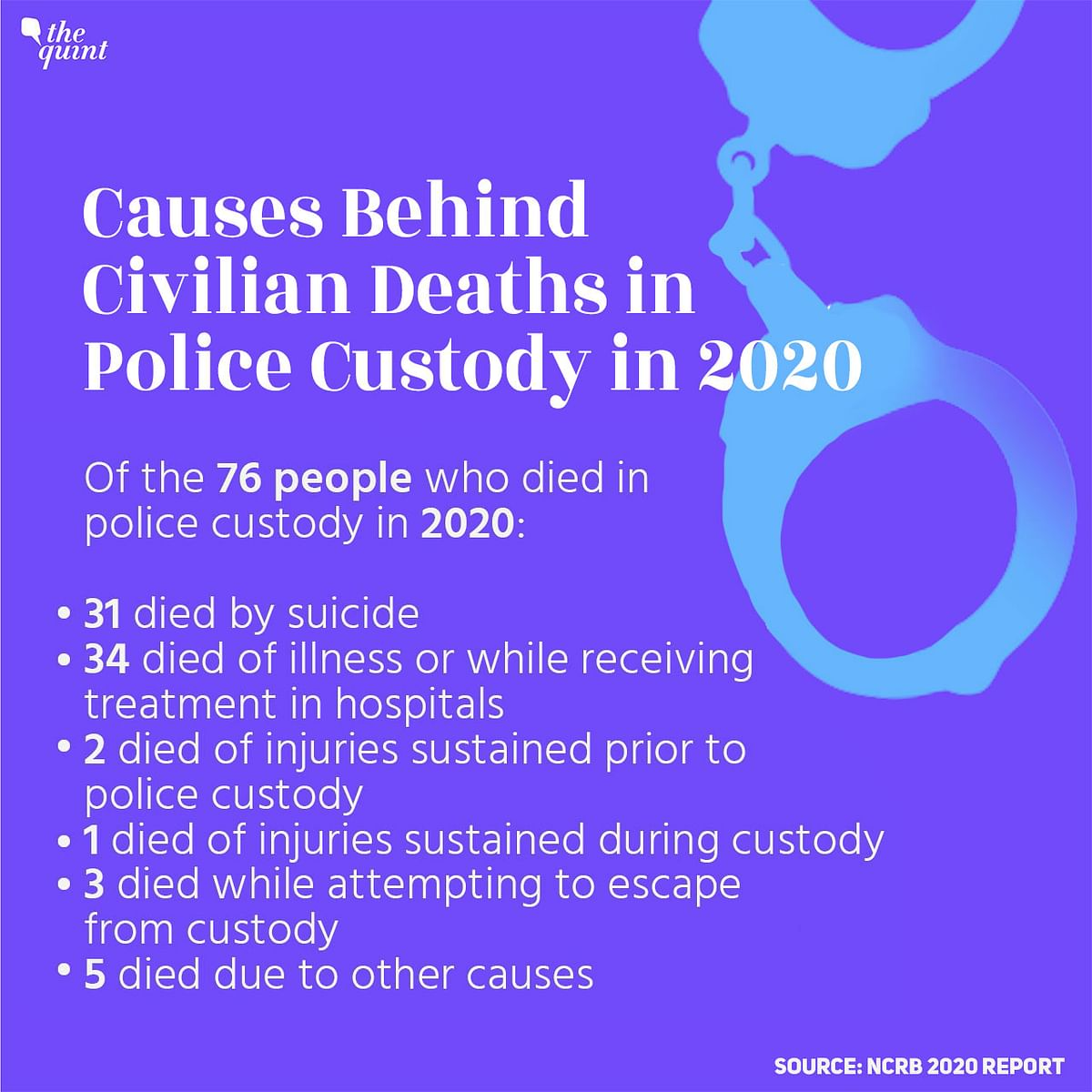 """<div class=""""paragraphs""""><p>Causes Behind Civilian Deaths in Police Custody in 2020</p></div>"""