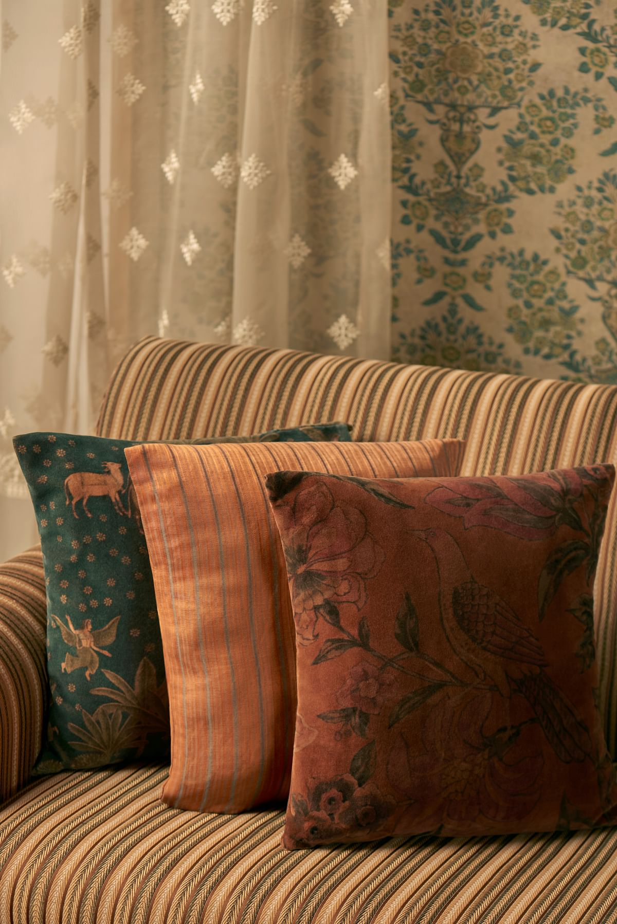 """<div class=""""paragraphs""""><p>Curtains From The Soofah Collection, Cushions and Sofa From The Makhmal Collection.</p></div>"""