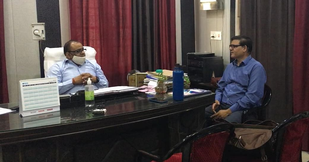 """<div class=""""paragraphs""""><p>Chief Medical Officer Dinesh Kumar in his office in Baghpat. He explained the various steps being taken across the district to monitor the spread of the disease.</p></div>"""