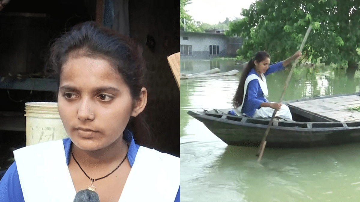"""<div class=""""paragraphs""""><p>Class 11 student Sandhya Sahani rows boat to her class every day.</p></div>"""