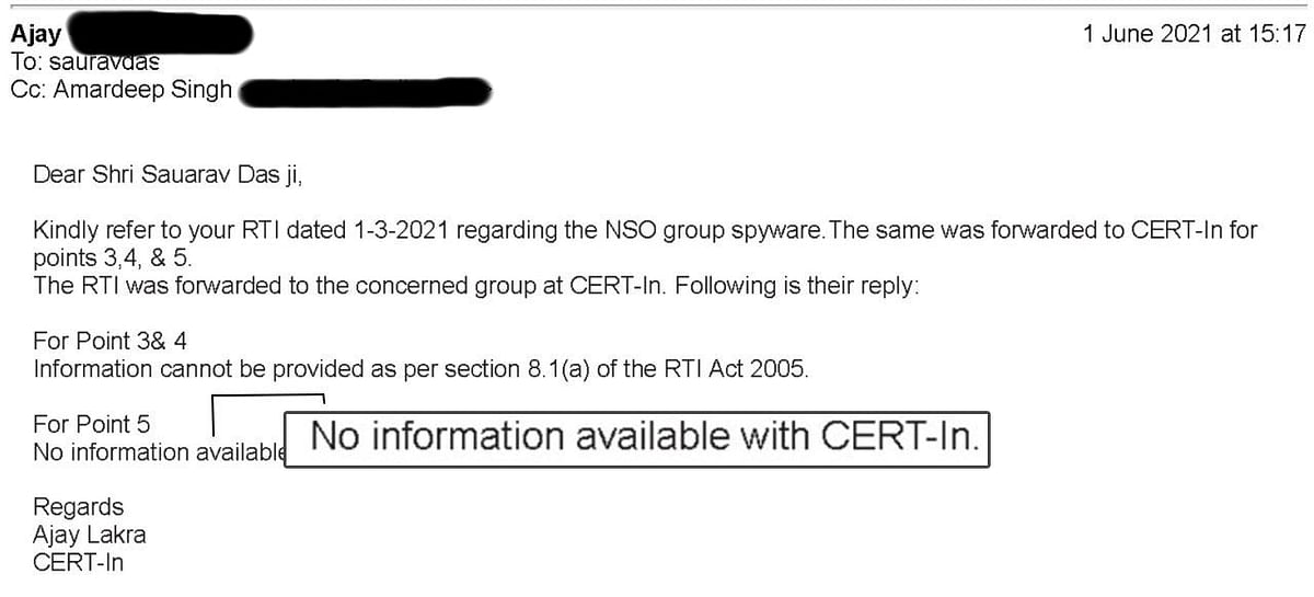 """<div class=""""paragraphs""""><p>Screenshot of reply from CERT-IN.</p></div>"""