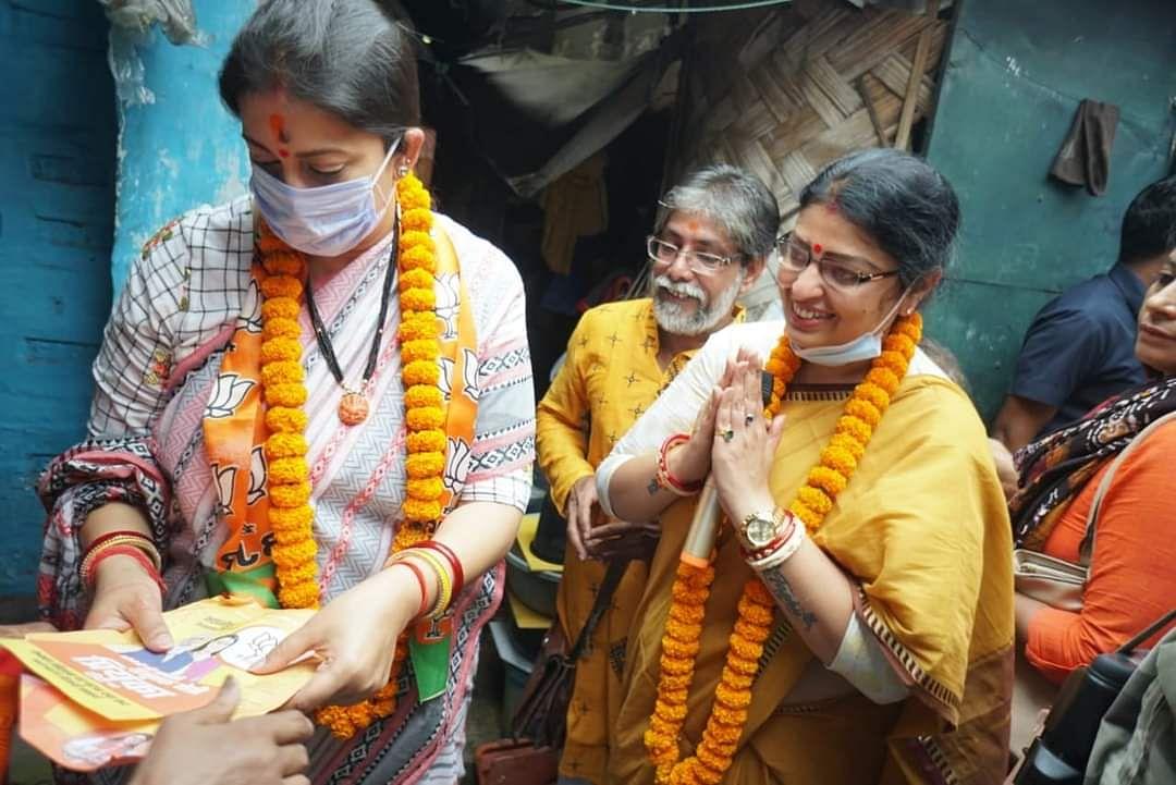 "<div class=""paragraphs""><p>Smriti Irani campaigning for BJP's Bhabanipur candidate, Priyanka Tibrewal.</p></div>"