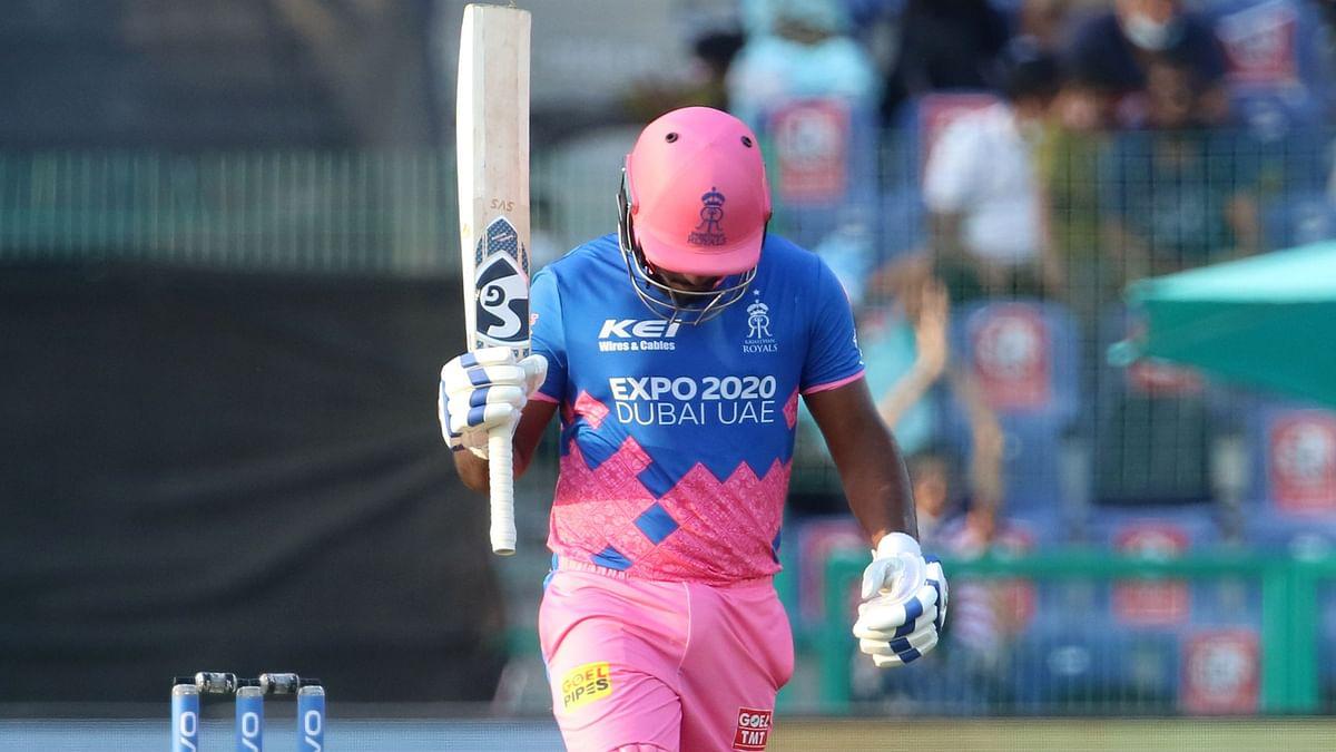 "<div class=""paragraphs""><p>Sanju Samson captain of Rajasthan Royals raises his bat after scoring a fifty against Rajasthan Royals.<br></p></div>"