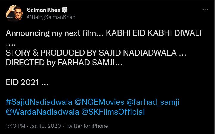 Salman Khan, Pooja Hegde-starrer Kabhi Eid Kabhi Diwali Shelved? Makers React