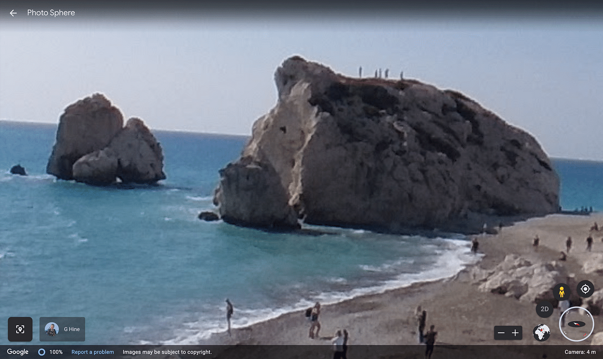 """<div class=""""paragraphs""""><p>Street view of&nbsp;Aphrodite's Rock available on Google Earth.</p></div>"""