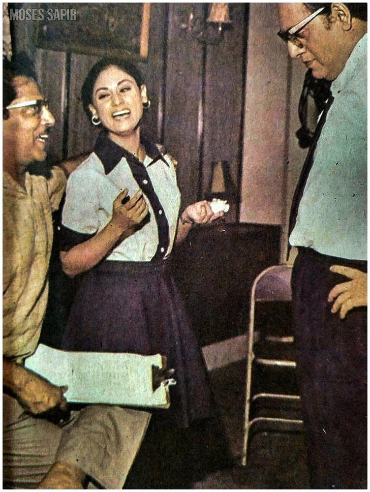 """<div class=""""paragraphs""""><p>A rare photo of Hrishikesh Mukherjee, Jaya Bhaduri and Utpal Dutt on the sets of&nbsp;<em>Guddi.</em></p></div>"""