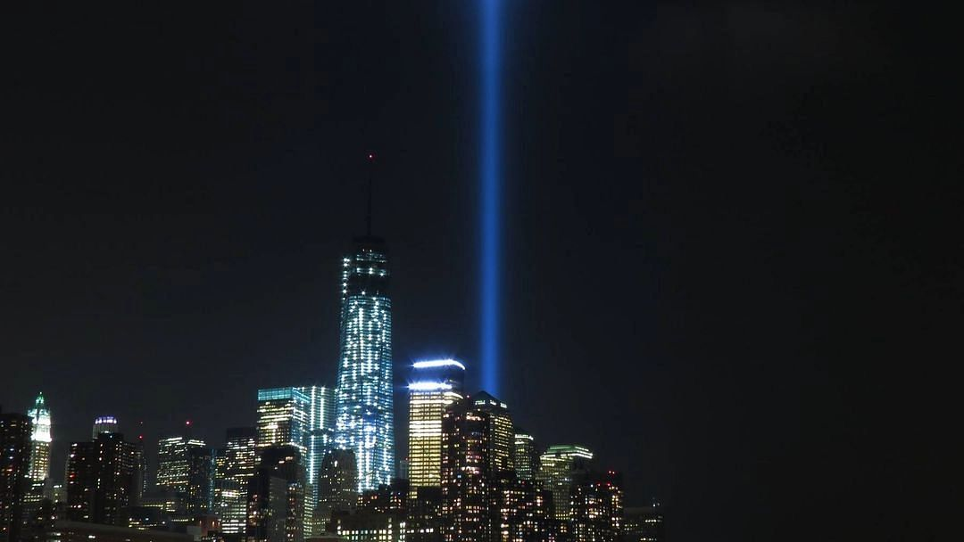 """<div class=""""paragraphs""""><p>Lights representing the Twin Towers on the 20th anniversary of 9/11.</p></div>"""