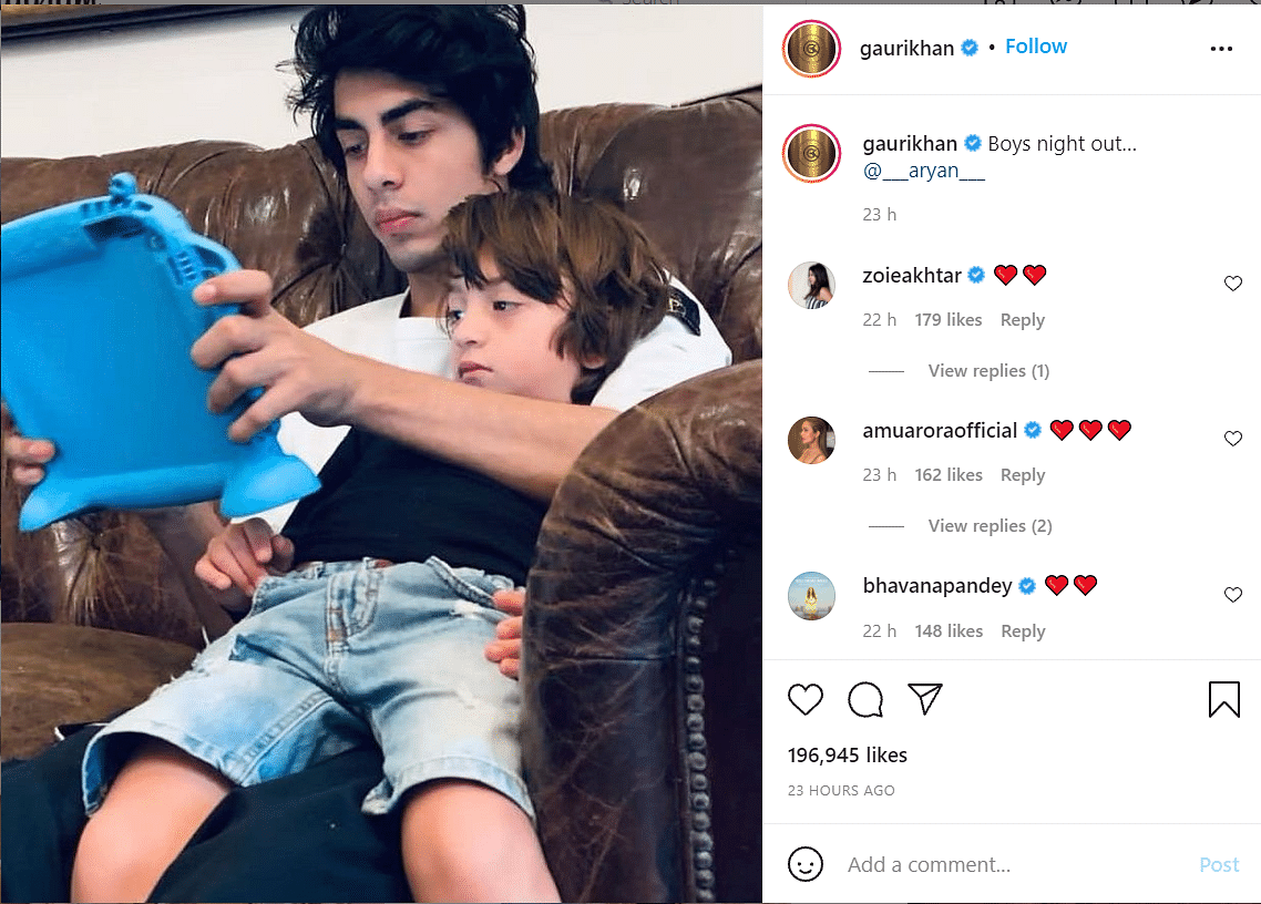 """Shah Rukh Khan Reacts to Sons AbRam and Aryan's """"Boys' Night Out"""""""
