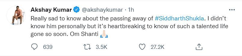 No Age to Go: Salman Khan, Vicky Kaushal, Others Mourn Sidharth Shukla's Demise