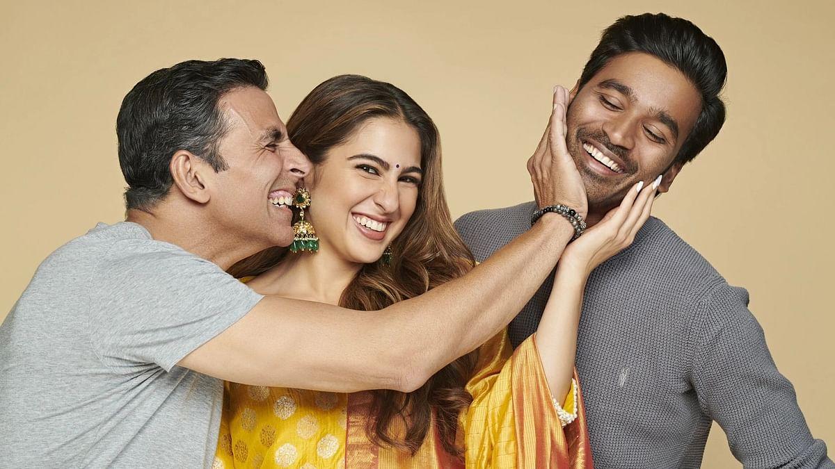"""<div class=""""paragraphs""""><p>Akshay Kumar, Sara Ali Khan, and Dhanush star in&nbsp;<em>Atrangi Re.</em></p></div>"""